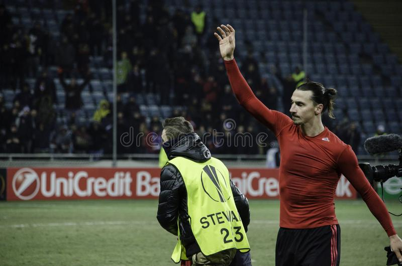 ODESSA, UKRAINE - December 08, 2016: Zlatan Ibrahimovic during t. He UEFA Europa League match between Zarya Lugansk vs Manchester United (Manchester, United royalty free stock photos