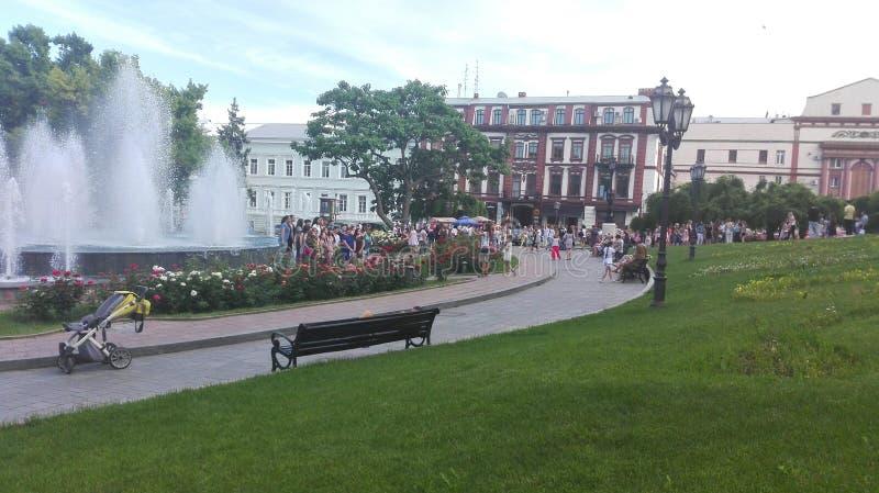 odessa ukraine En blick till någon huvudsaklig fyrkant, parkerar, stadsträdgården royaltyfri bild