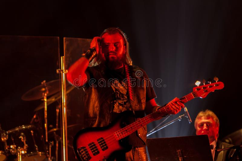 ODESSA, UKRAINE - January 24, 2019: Rock band playing live music on stage. Ivan Voron and the Beast are invited to Hard Rock Show stock photography
