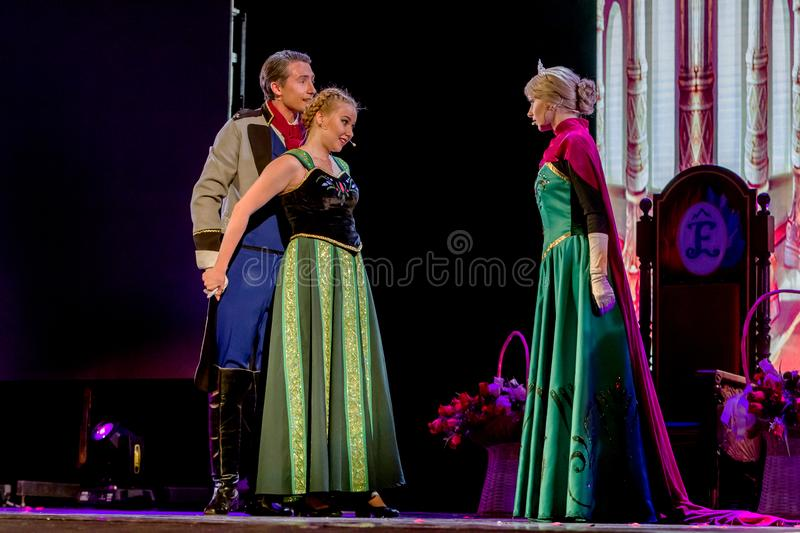 ODESSA, UKRAINE - July 14, 2019: Group of actors in action on stage of Odessa Opera and Ballet Theater during performance of royalty free stock photo