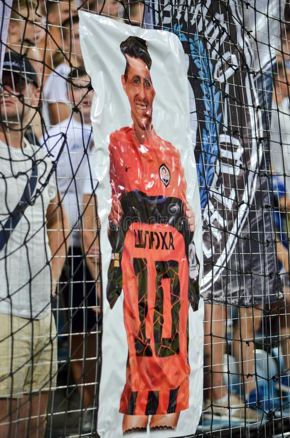 ODESSA, UKRAINE - July 21, 2018: Ultras Dynamo Kiev hung a poster in honor of the former football player Junior Moraes team during royalty free stock photo