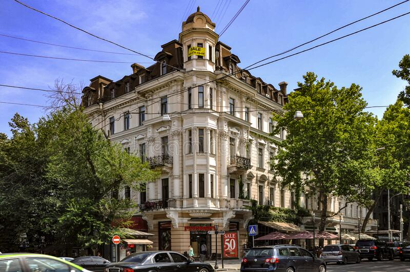 ODESSA, UKRAINE. JUNE 21, 2018. Architecture of the last century. Center of Odessa, st. Rishelyevskaya 9. Four-storey building with twisted columns. Facade stock photos