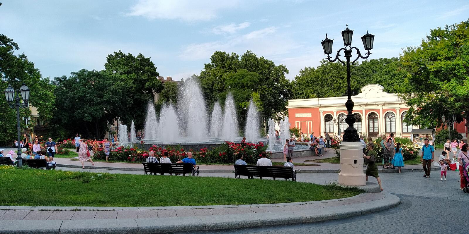 Parks of Odessa, Ukraine. ODESSA, UKRAINE - JUNE 14, 2019: This is a fountain in the park near the Opera House in a summer evening royalty free stock photos