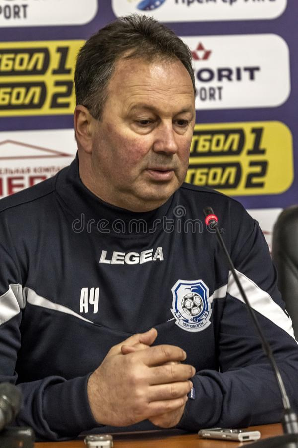 ODESSA, UKRAINE -2 March 2019: Legendary famous football coach FC Chernomorets Odessa Angel CHERVENKOV during match Chernomorets stock photography