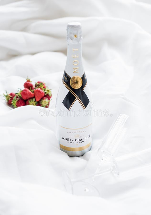 Odessa, Ukraine - May 23, 2018: Moet and Chandon Ice Imperial cham. Pagne on white linen background stock photography