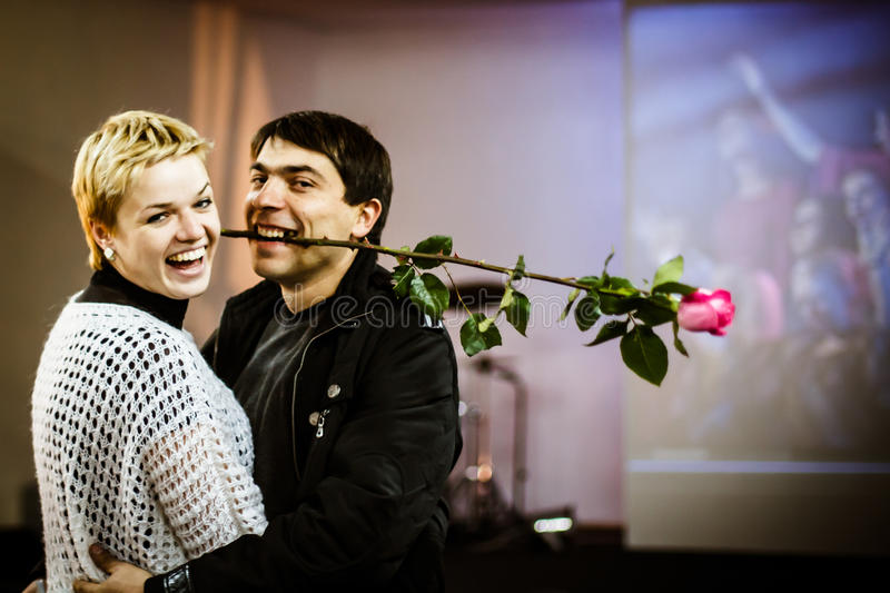 ODESSA, UKRAINE - NOV 24: Laughing happy couple in love at the e stock photography