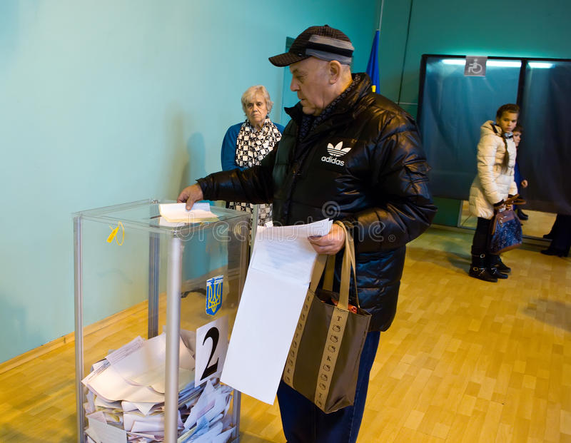 Odessa, Ukraine - 25 October 2015: place for people of voting voters in the national political elections in Ukraine royalty free stock photography