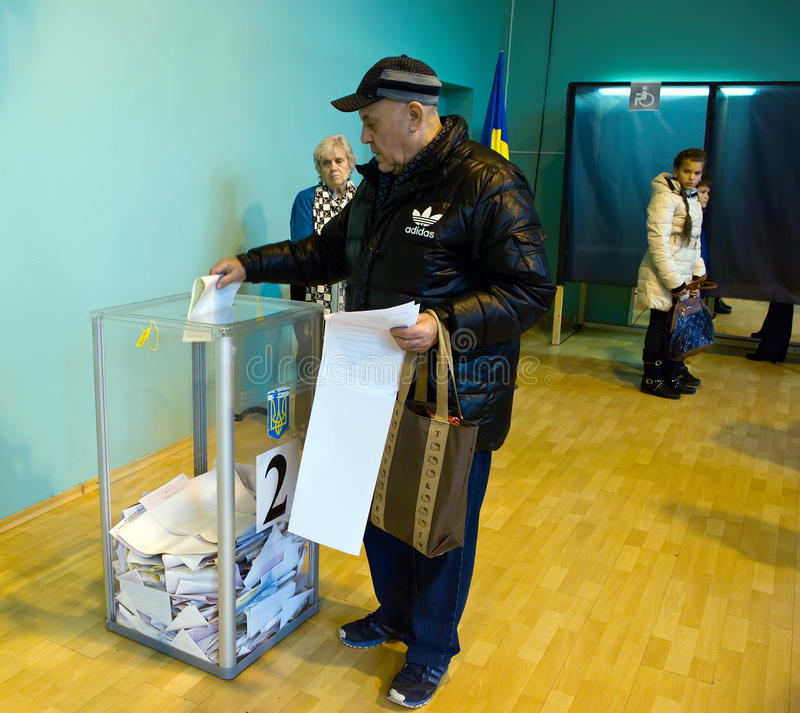 Odessa, Ukraine - 25 October 2015: place for people of voting voters in the national political elections in Ukraine stock photography