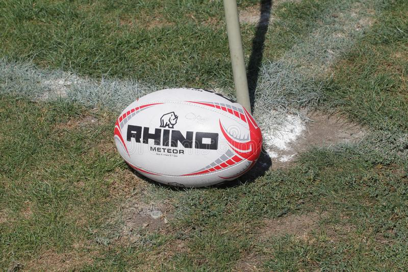 ODESSA, UKRAINE - SEPTEMBER 7, 2019: During the match, Odessa Rugby Team - Kremenchug. Rugby ball on the stadium field. royalty free stock images