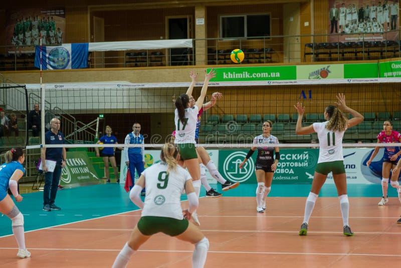 ODESSA, Yuzhny, UKRAINE - Febr 4, 2020. Women European Volleyball Championship. VK Khimik - Ukraine accepts Igor Gorgonzola NOVARA stock photos