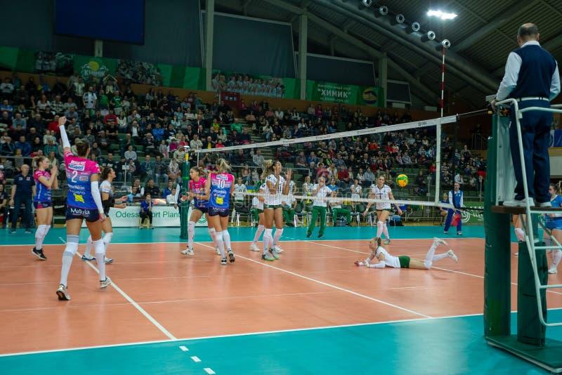 ODESSA, Yuzhny, UKRAINE - Febr 4, 2020. Women European Volleyball Championship. VK Khimik - Ukraine accepts Igor Gorgonzola NOVARA stock photo