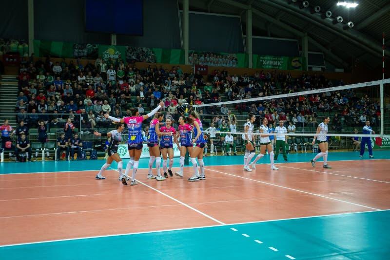 ODESSA, Yuzhny, UKRAINE - Febr 4, 2020. Women European Volleyball Championship. VK Khimik - Ukraine accepts Igor Gorgonzola NOVARA royalty free stock photo