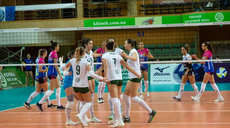 ODESSA, Yuzhny, UKRAINE - Febr 4, 2020. Women European Volleyball Championship. VK Khimik - Ukraine accepts Igor Gorgonzola NOVARA royalty free stock photography