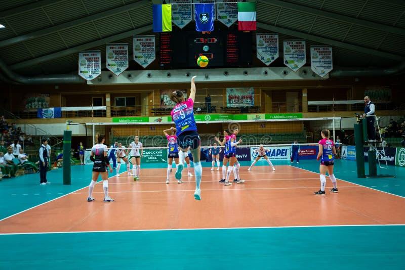 ODESSA, Yuzhny, UKRAINE - Febr 4, 2020. Women European Volleyball Championship. VK Khimik - Ukraine accepts Igor Gorgonzola NOVARA royalty free stock photos