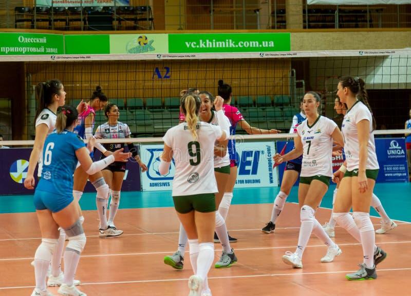 ODESSA, Yuzhny, UKRAINE - Febr 4, 2020. Women European Volleyball Championship. VK Khimik - Ukraine accepts Igor Gorgonzola NOVARA stock image