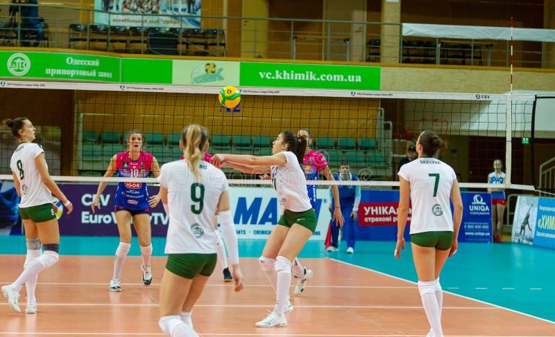 ODESSA, Yuzhny, UKRAINE - Febr 4, 2020. Women European Volleyball Championship. VK Khimik - Ukraine accepts Igor Gorgonzola NOVARA stock images