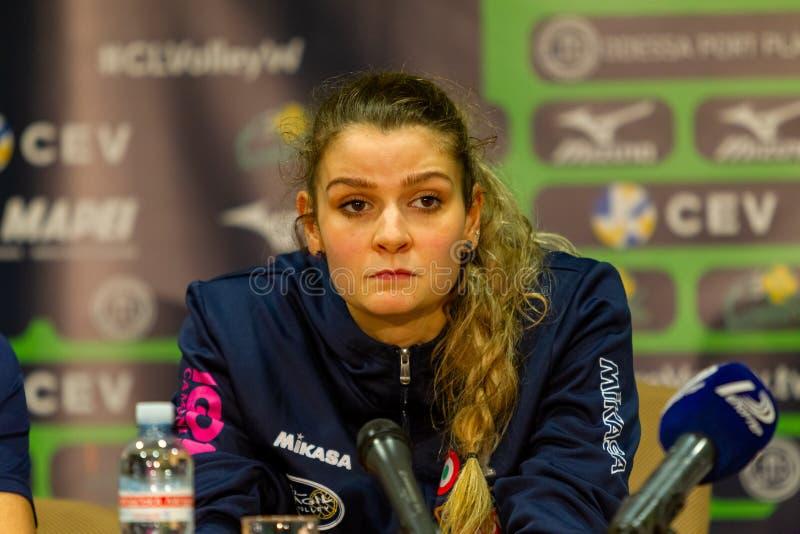 ODESSA, Yuzhny, UKRAINE - Febr 4, 2020. Women European Volleyball Championship. VK Khimik - Ukraine accepts Igor Gorgonzola NOVARA royalty free stock images