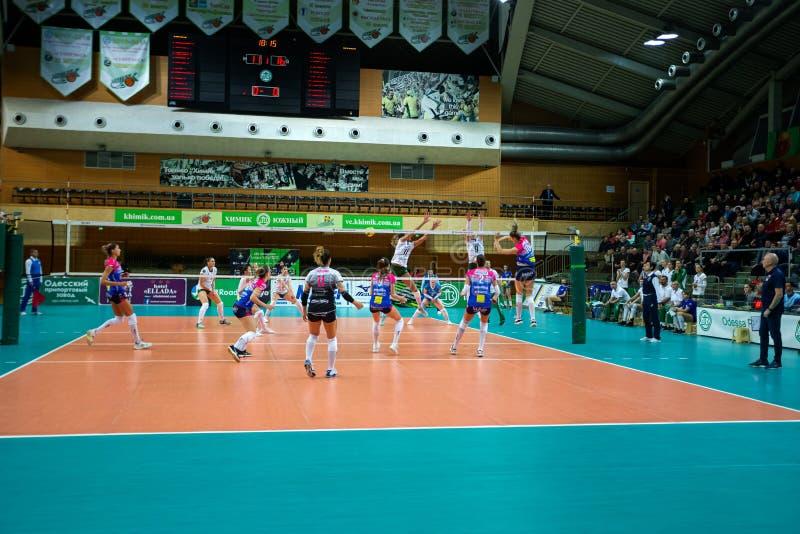 ODESSA, Yuzhny, UKRAINE - Febr 4, 2020. Women European Volleyball Championship. VK Khimik - Ukraine accepts Igor Gorgonzola NOVARA royalty free stock image