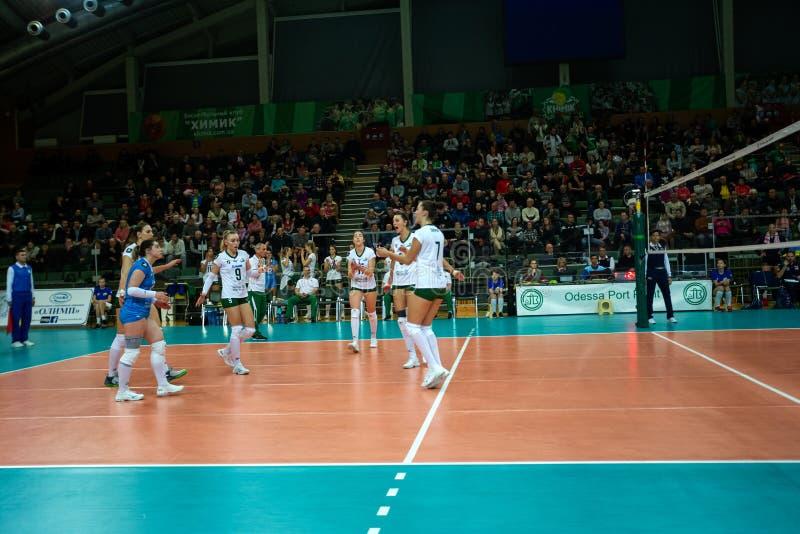 ODESSA, Yuzhny, UKRAINE - Febr 4, 2020. Women European Volleyball Championship. VK Khimik - Ukraine accepts Igor Gorgonzola NOVARA stock photography