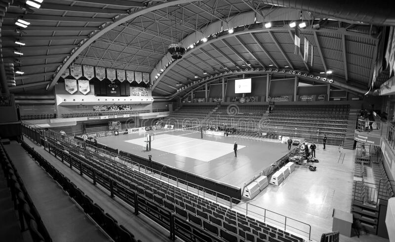 ODESSA, Yuzhny, UKRAINE - Febr 4, 2020. Women`s European Volleyball Championship. Empty clean european volleyball court awaiting royalty free stock photo