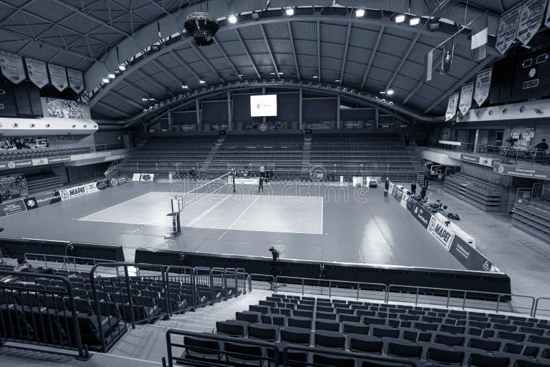 ODESSA, Yuzhny, UKRAINE - Febr 4, 2020. Women`s European Volleyball Championship. Empty clean european volleyball court awaiting royalty free stock photos