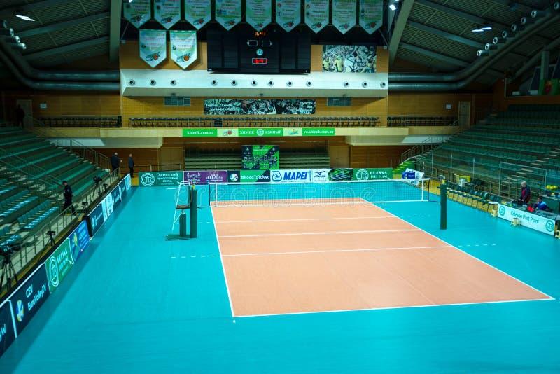 ODESSA, Yuzhny, UKRAINE - Febr 4, 2020. Women`s European Volleyball Championship. Empty clean european volleyball court awaiting royalty free stock images