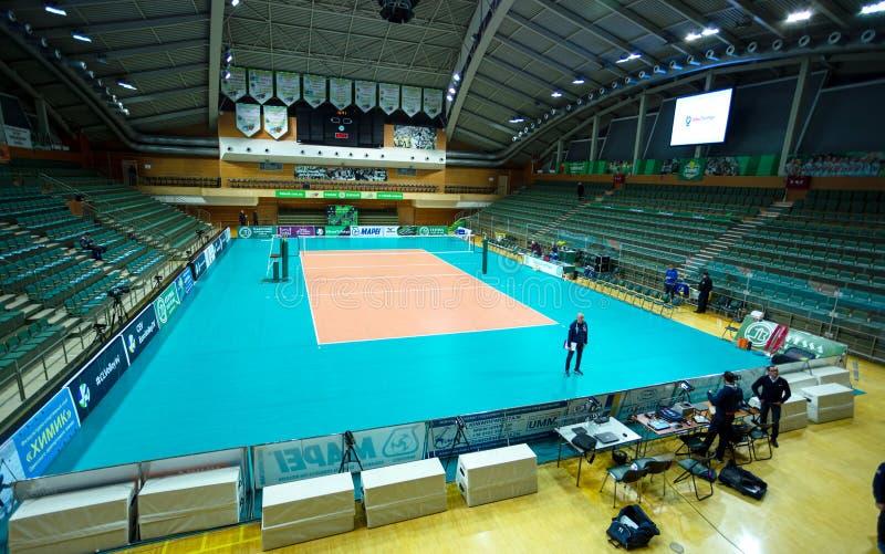 ODESSA, Yuzhny, UKRAINE - Febr 4, 2020. Women`s European Volleyball Championship. Empty clean european volleyball court awaiting stock photo