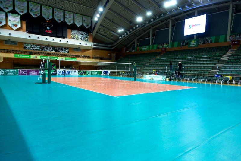 ODESSA, Yuzhny, UKRAINE - Febr 4, 2020. Women`s European Volleyball Championship. Empty clean european volleyball court awaiting stock image