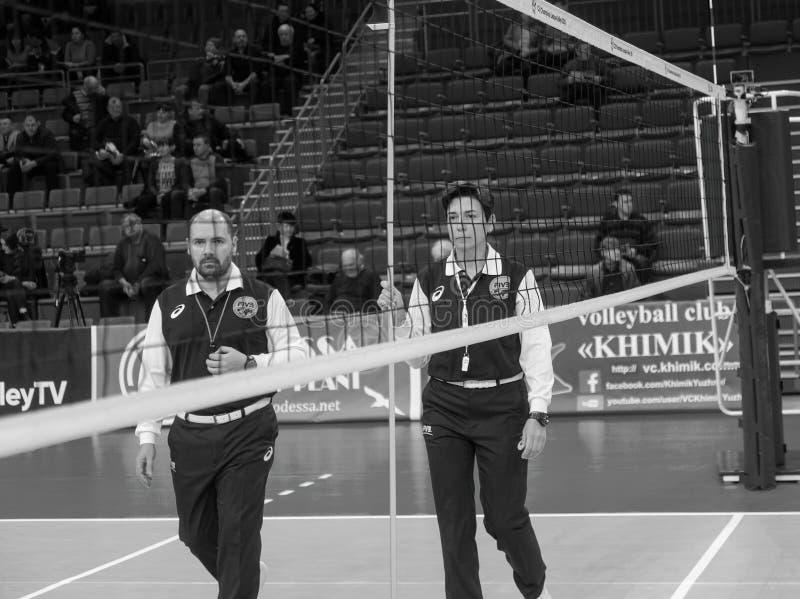 ODESSA, Yuzhny, UKRAINE - Febr 4, 2020. Women`s European Volleyball Championship. Empty clean european volleyball court awaiting royalty free stock image
