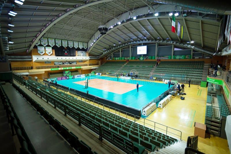 ODESSA, Yuzhny, UKRAINE - Febr 4, 2020. Women`s European Volleyball Championship. Empty clean european volleyball court awaiting stock photography