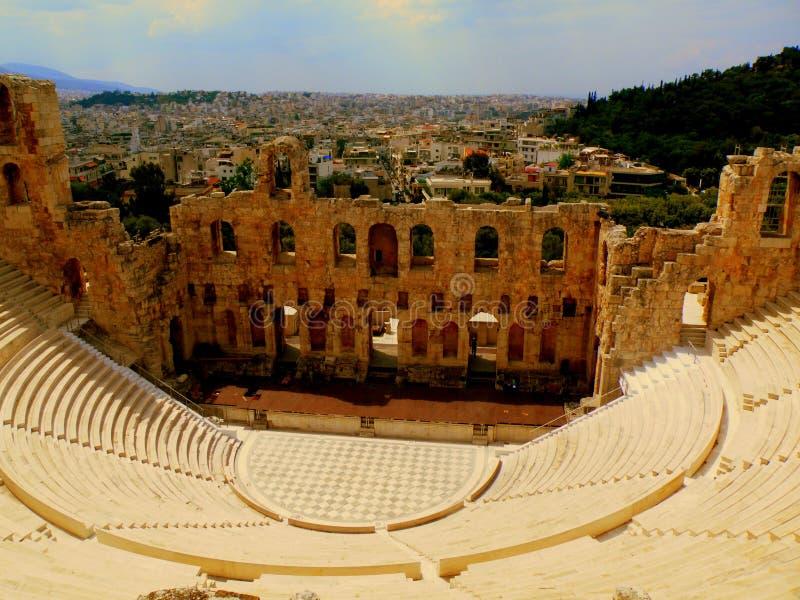 Odeum antigo do Acropolis imagem de stock
