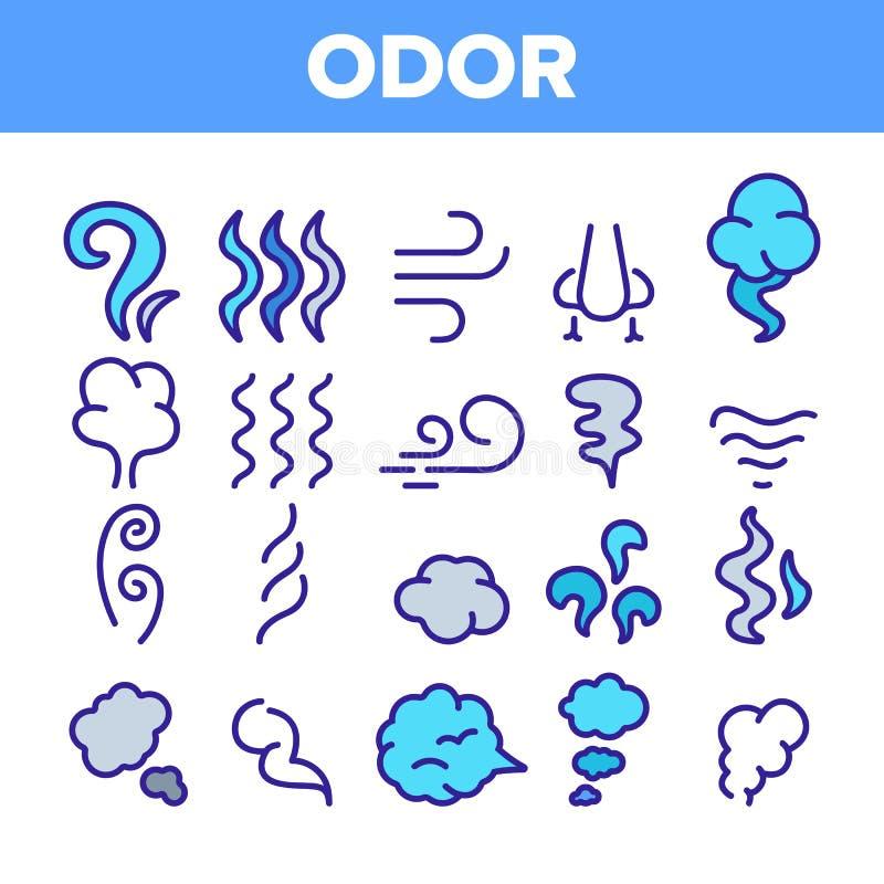 Odeur, fumée, ensemble linéaire d'icônes de vecteur d'odeur illustration libre de droits