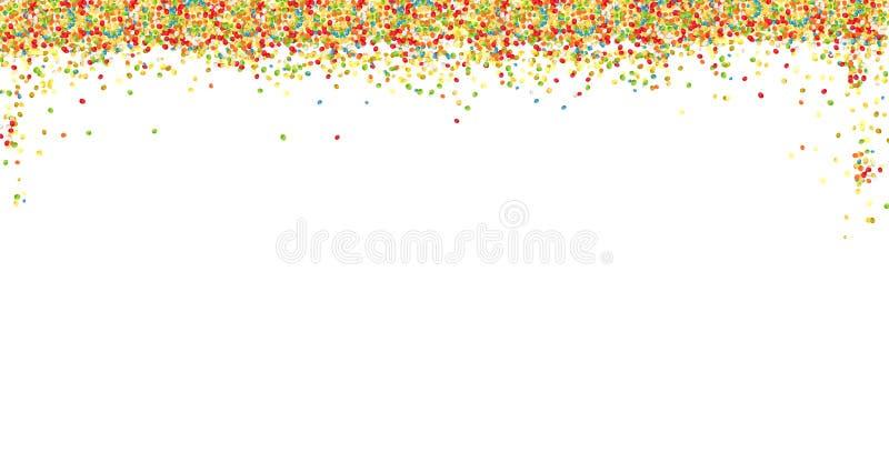 Odgórna granica słodki kolorowy cukrowy piłka proszek na białym tle z kopii przestrzenią Wielkanocny kartka z pozdrowieniami proj ilustracji