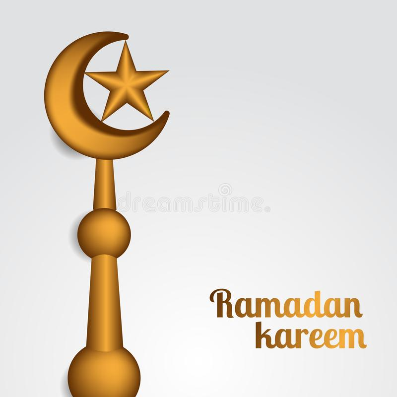 Odgórna złota dachowa dekoracji półksiężyc, gwiazdowy realistyczny islamski wydarzenia Ramadan kareem i Mubarak ilustracji
