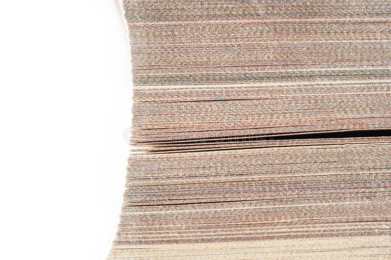 Odgórny widok pierwszy plan krawędź, Zamknięte strony Bookmarked książka Odizolowywająca Na Białym tle Czytający, podręcznik, Biz zdjęcie royalty free