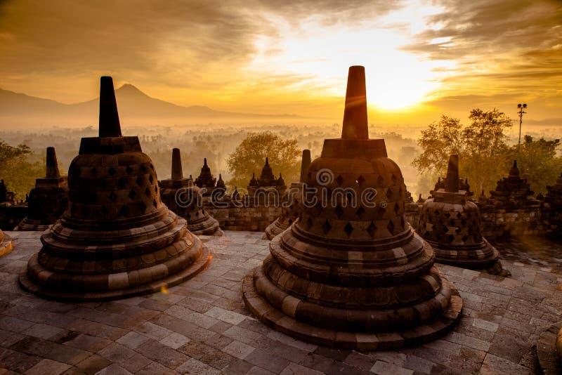Odgórna Borobudur świątynia w Yogyakarta, Jawa zdjęcia royalty free