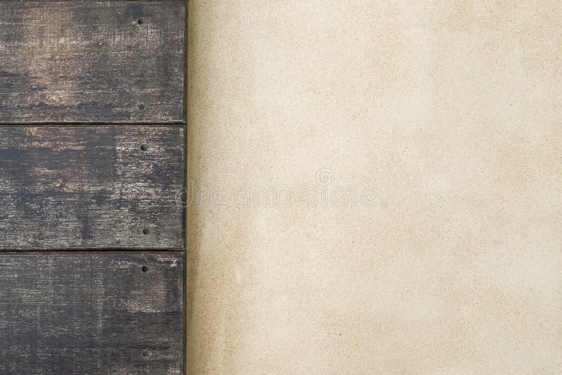 Odgórna drewniana i cementowa podłoga tło podłoga uwarstwiał teakwook tekstury drewno zdjęcia stock