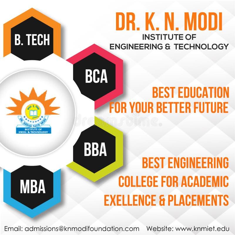 Odgórna inżynieria, szkoła wyższa w Delhi NCR, PGDM & MBA ilustracja wektor