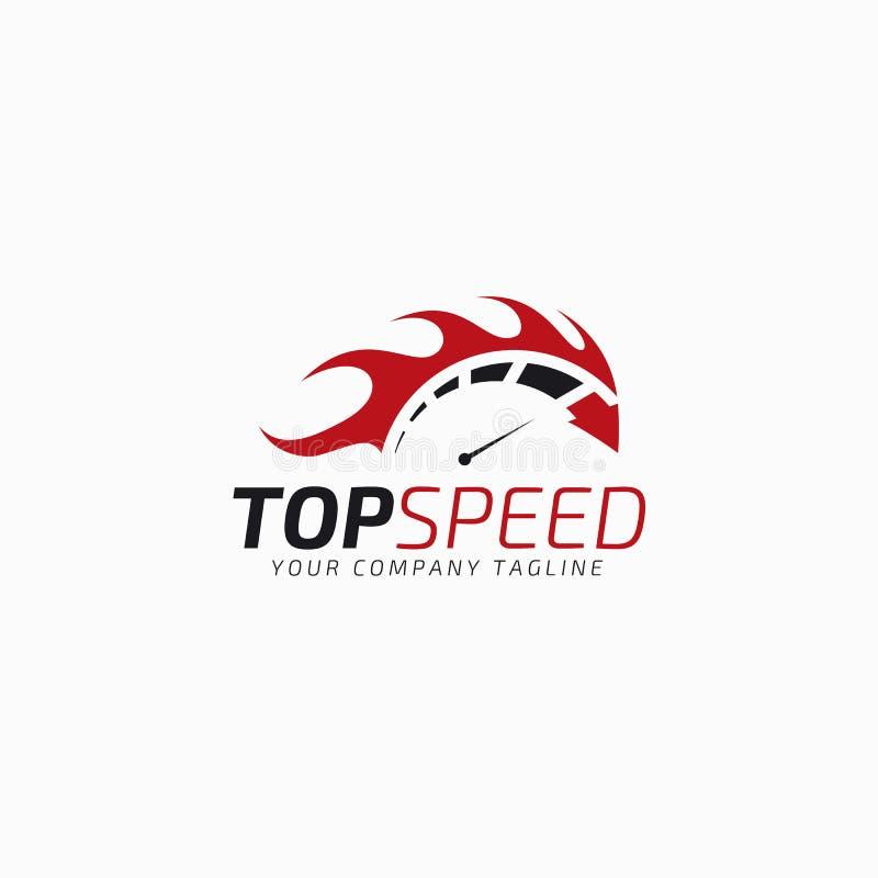 Odgórna prędkość - Auto Gorący Biegowy logo szablon ilustracja wektor
