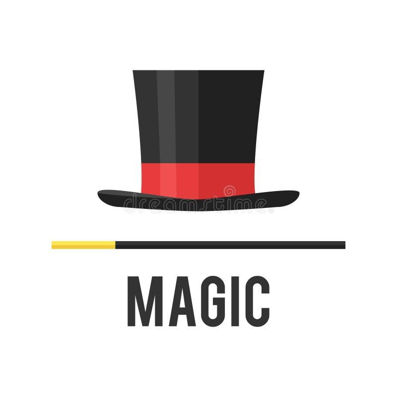 Odgórnego kapeluszu magik z trzciną ilustracji