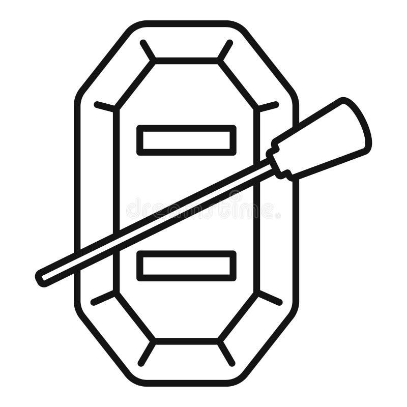 Odgórnego widoku łodzi rybackiej ikona, konturu styl ilustracja wektor
