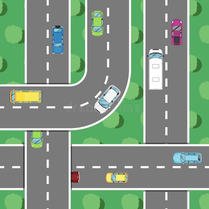Odgórnego widoku autostrady ruch drogowy w godzina szczytu plakacie ilustracja wektor