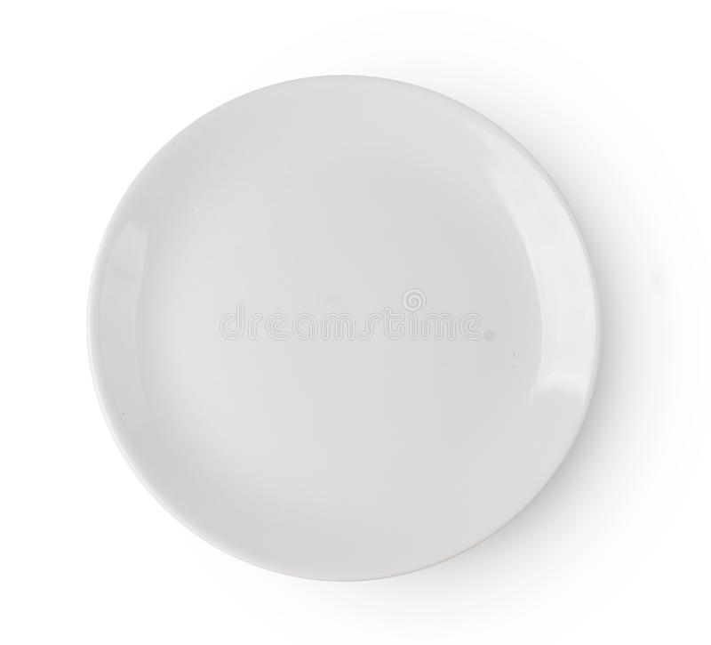 Odgórnego widoku bielu talerz odizolowywający na białym tle zdjęcia royalty free