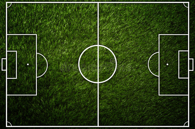 Odgórnego widoku boiska piłkarskiego tło obraz royalty free