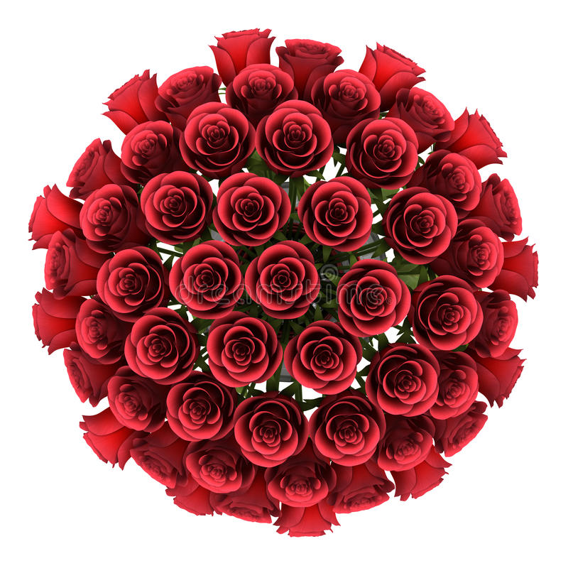 Odgórnego widoku bukiet czerwone róże w wazie odizolowywającej na bielu ilustracja wektor