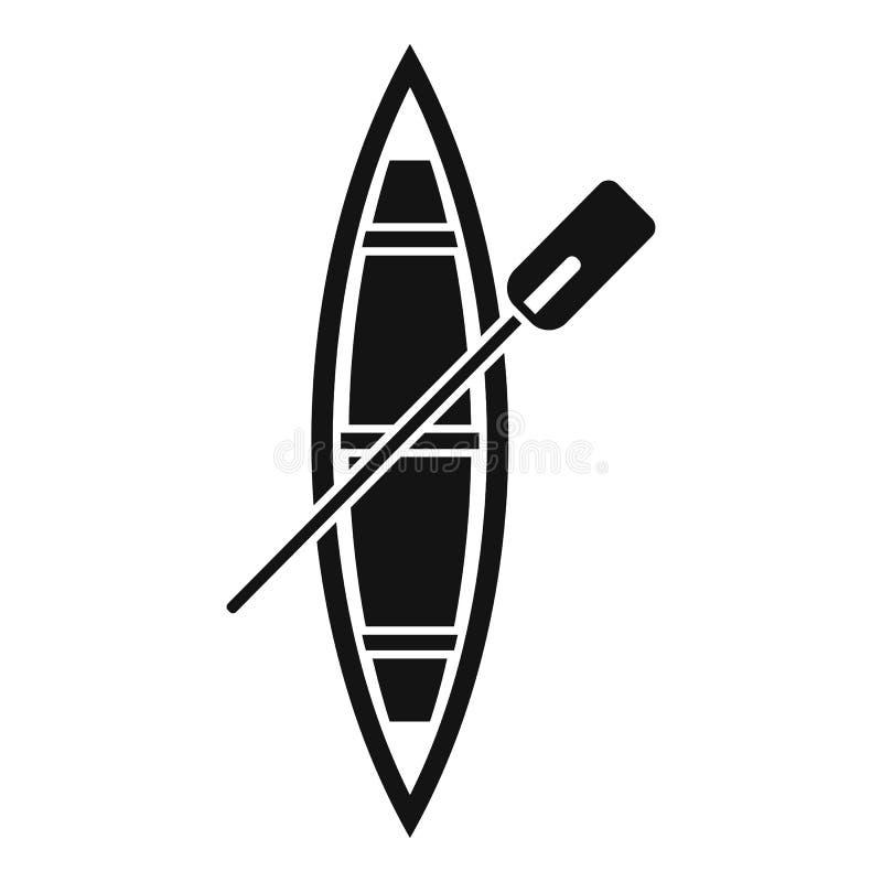 Odgórnego widoku drewniana łódkowata ikona, prosty styl royalty ilustracja