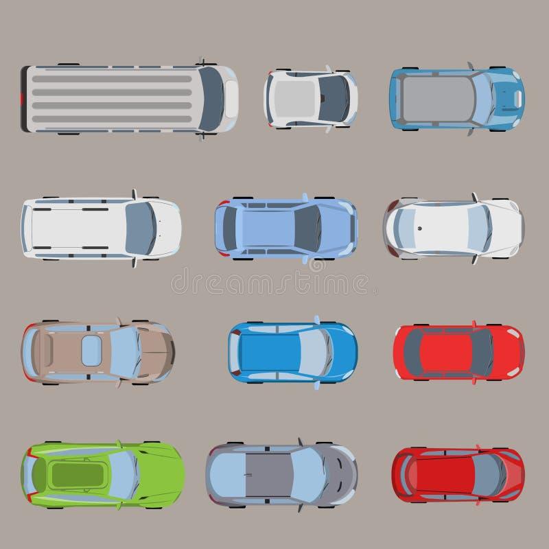 Odgórnego widoku drogowego transportu Samochodu dostawczego Autobus pojazdu samochodowy płaski wektor royalty ilustracja