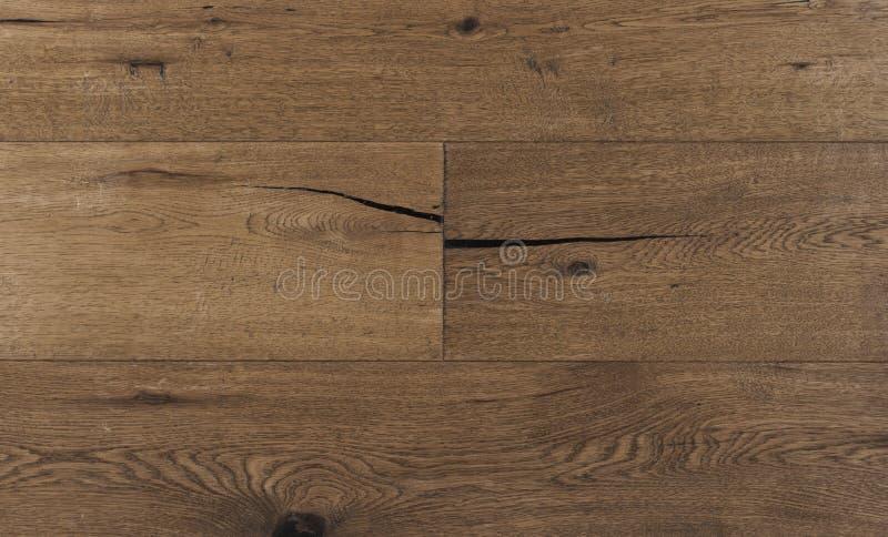 Odgórnego widoku fotografia rocznika wieśniak dymił Australijskie dębowego drewna podłogowe deski z szorstką teksturą, szczotkowa obrazy stock