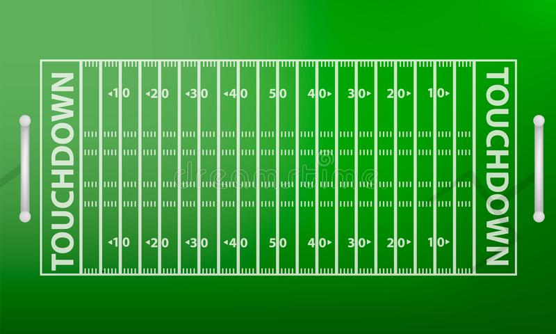 Odgórnego widoku futbolu amerykańskiego pola pojęcia tło, realistyczny styl ilustracja wektor