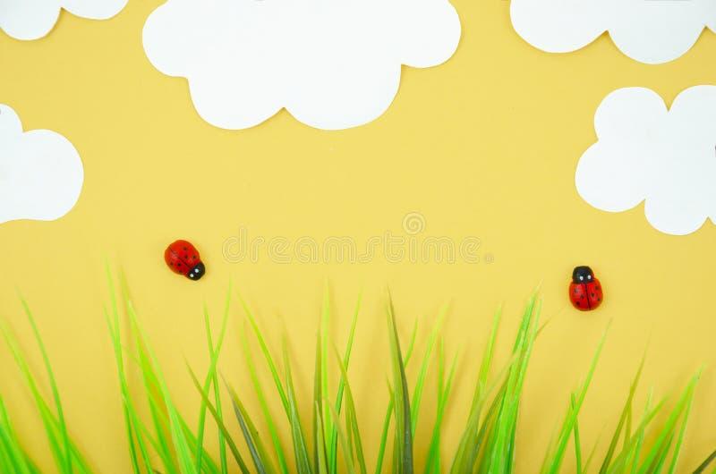 Odgórnego widoku kreskówki biedronki modele z trawy i papieru chmurami Mieszkanie kłaść z lata minimalnym pojęciem obrazy stock
